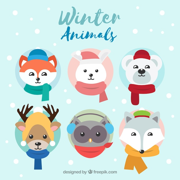 Winter animal collection of six