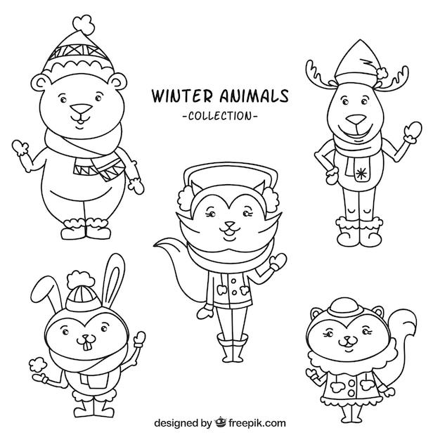 Winter animal collection with clothes