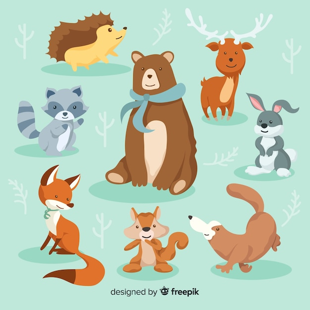 Winter animal collection Free Vector