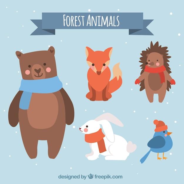 Winter animal set of five