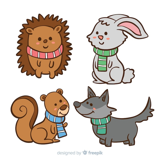 Winter animals collection Free Vector