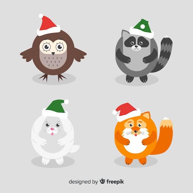 Зимние животные с шляпой Бесплатные векторы
