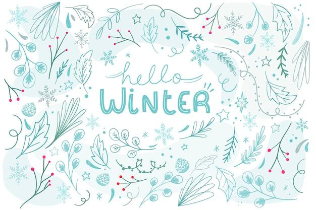 Winter background in flat design Free Vector