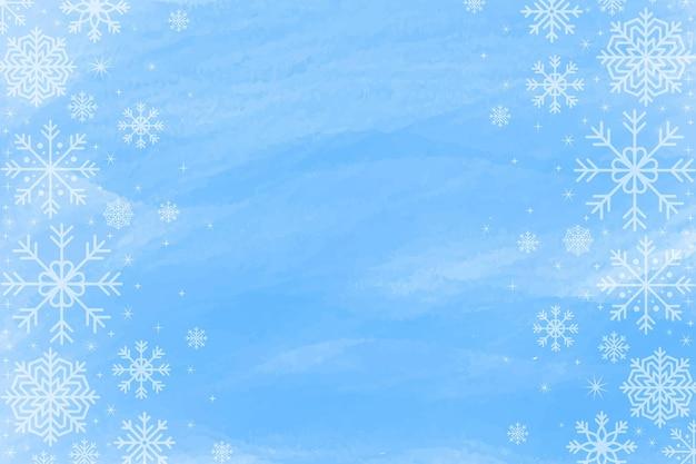 Зимний фон в синей акварели с пустым пространством Бесплатные векторы