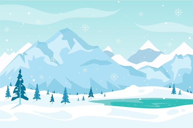 フラットなデザインの冬の背景 Premiumベクター