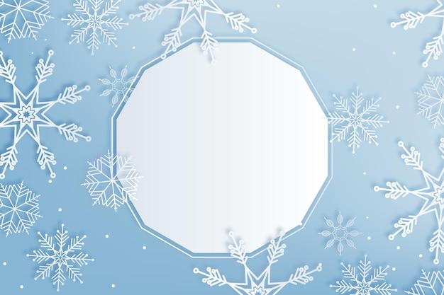 紙のスタイルのコピースペースの冬の背景 無料ベクター
