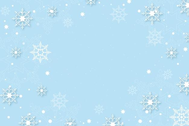 Зимний фон в бумажном стиле с пустым пространством Premium векторы