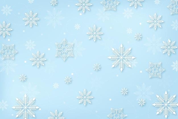 Зимний фон в бумажном стиле со снежинками Premium векторы