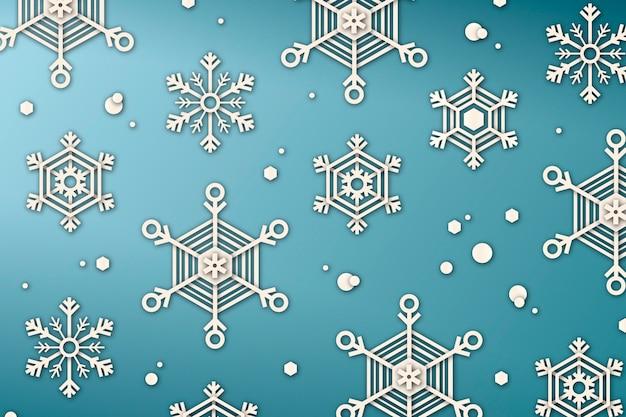 紙のスタイルで冬の背景 無料ベクター