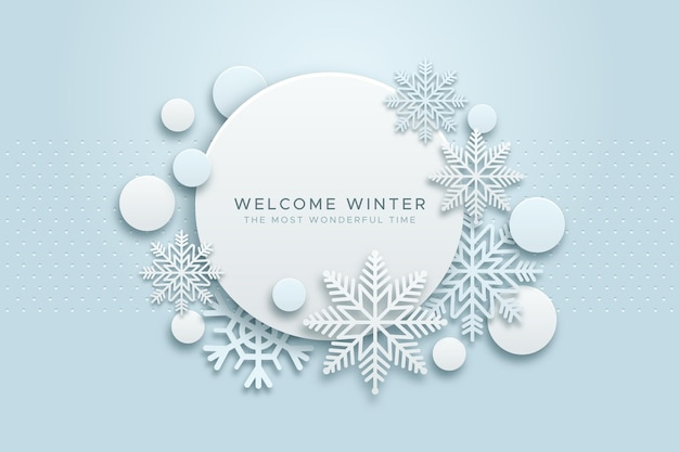 Зимний фон в бумажном стиле Бесплатные векторы