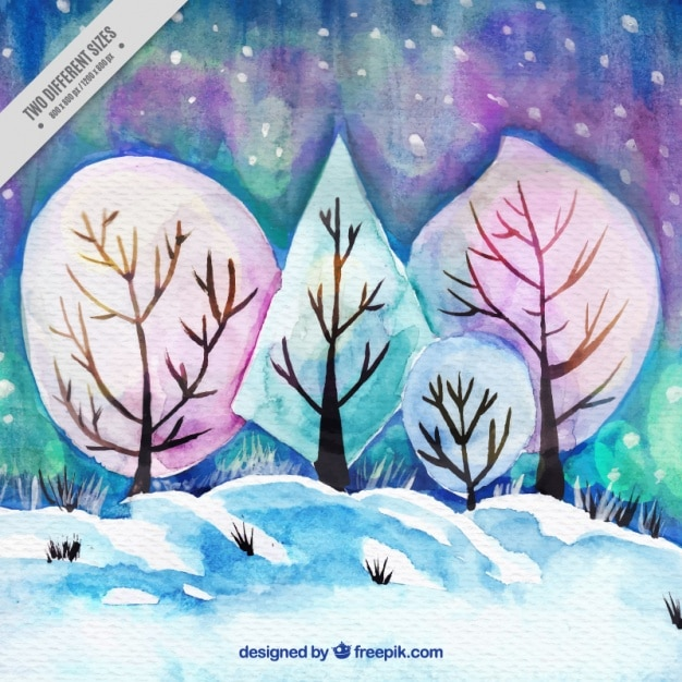 Winter background of watercolor landscape with\ trees