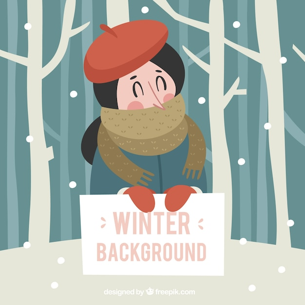 Winter background with a girl in a red hat