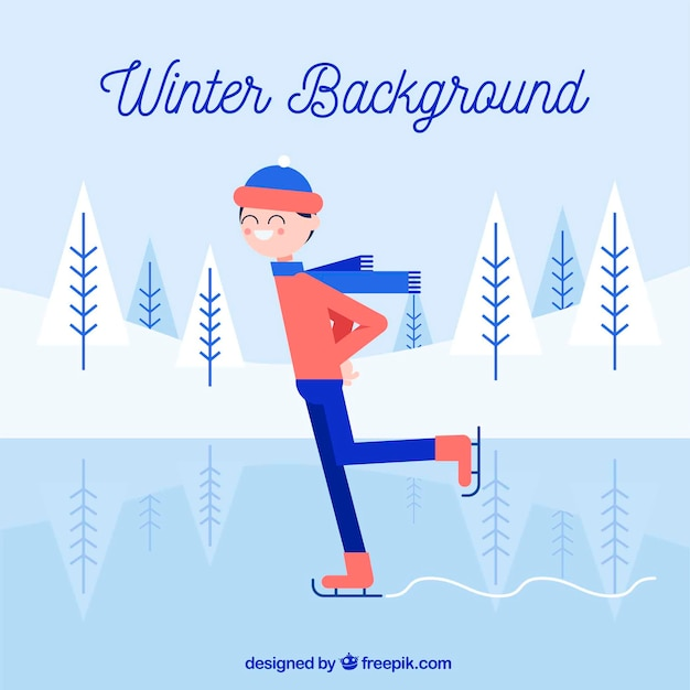 Winter background with a skating man