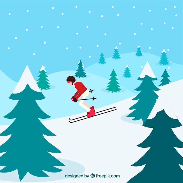 Winter background with a skiing man