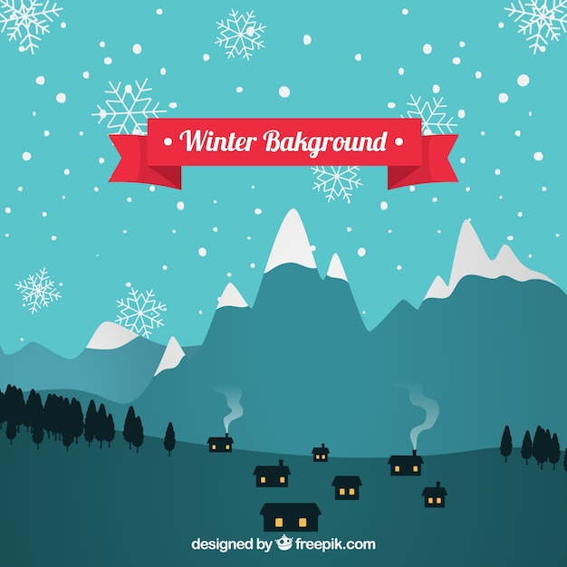 Winter background with a small village