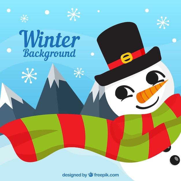 Winter background with a snowman in a striped scarf