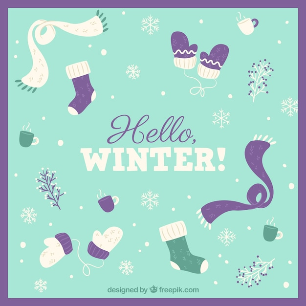 Winter background with clothing elements