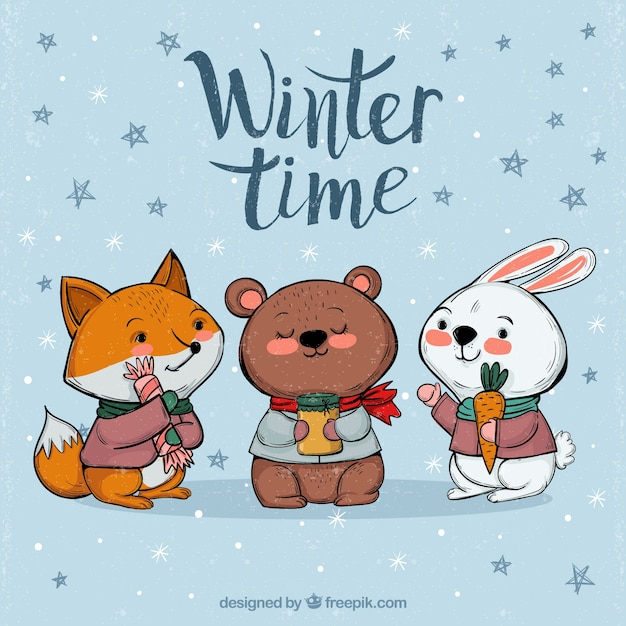 winter background with cute animals vector free download