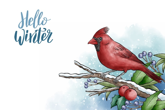 Winter background with cute bird Free Vector