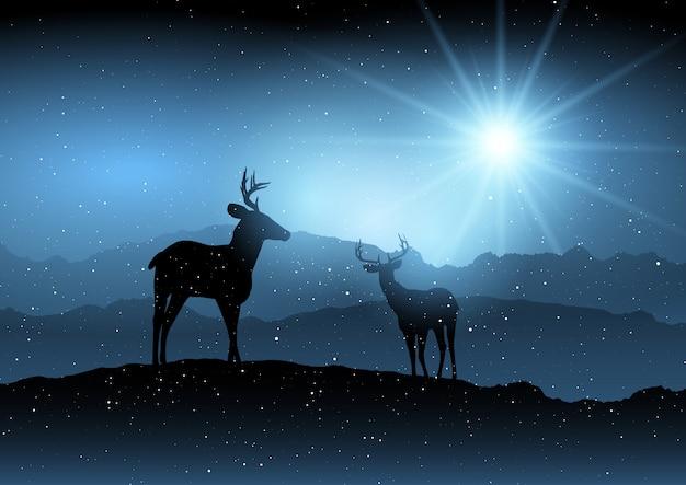 Winter background with deer Free Vector