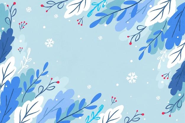 Зимний фон с нарисованными листьями и пустым пространством Бесплатные векторы