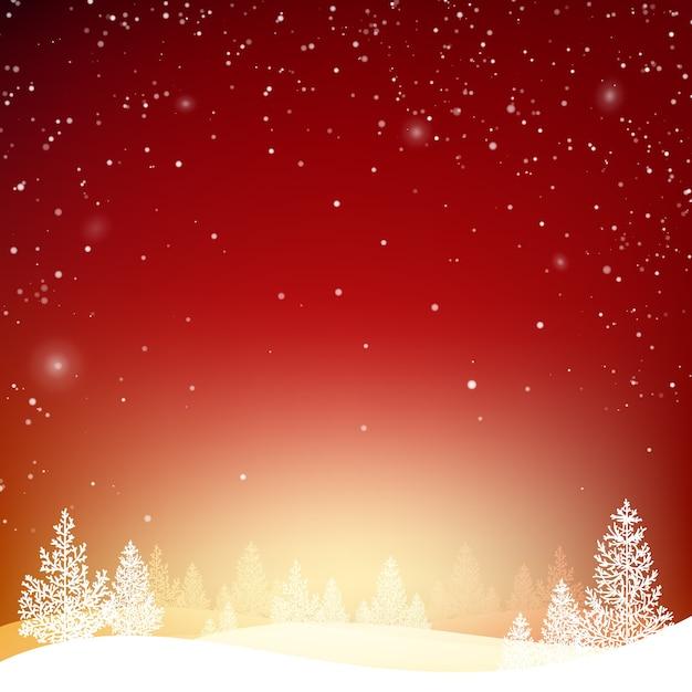 Зимний фон с лесом в снегу и холмах. Бесплатные векторы