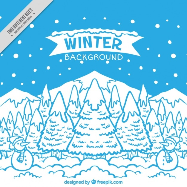 Winter background with hand drawn\ landscape