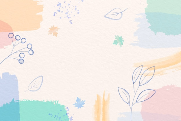 Winter background with pastel color brushes and leaves Free Vector