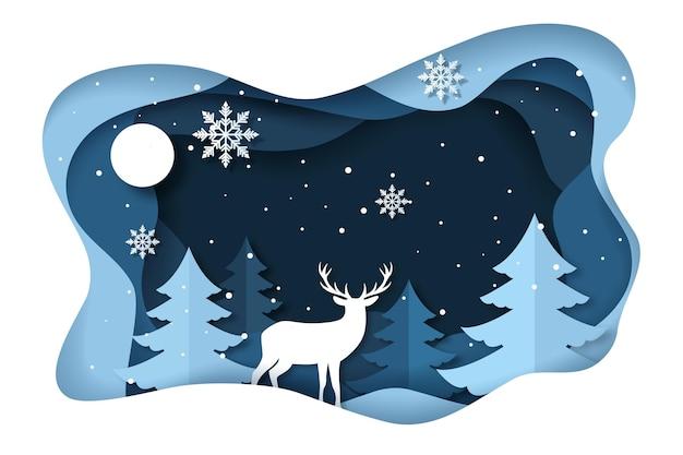 Зимний фон с оленями в бумажном стиле Бесплатные векторы