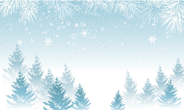Winter background with snow Premium Vector