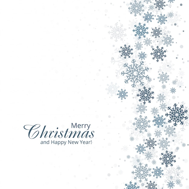 Winter background with snowflakes merry christmas card d Free Vector