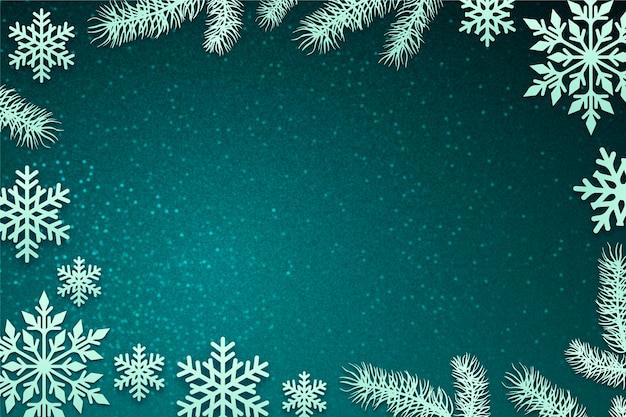 雪と冬の背景 Premiumベクター