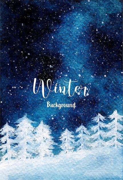 소나무 숲과 별이 빛나는 밤 눈이 내리는 겨울 배경 프리미엄 벡터