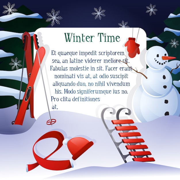 Winter background with snowman and red elements Free Vector