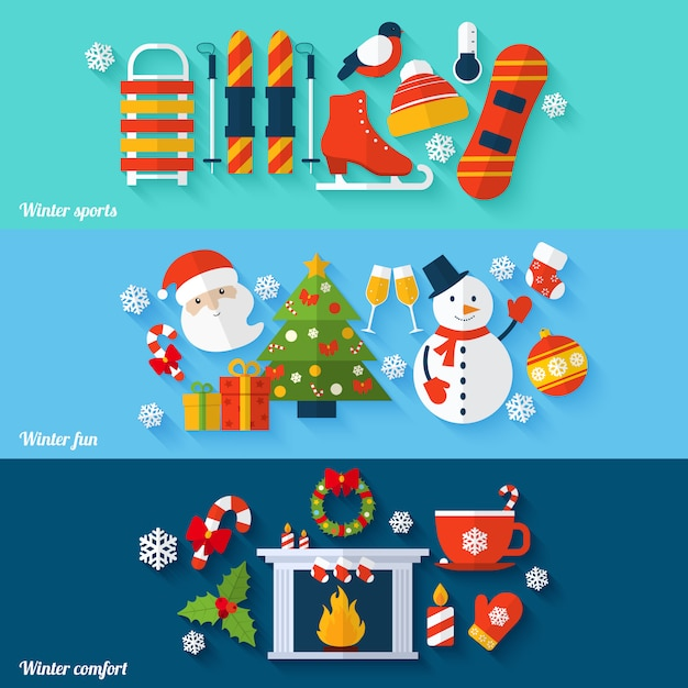 Winter banners set Free Vector
