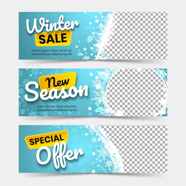 Winter big sale banners Premium Vector