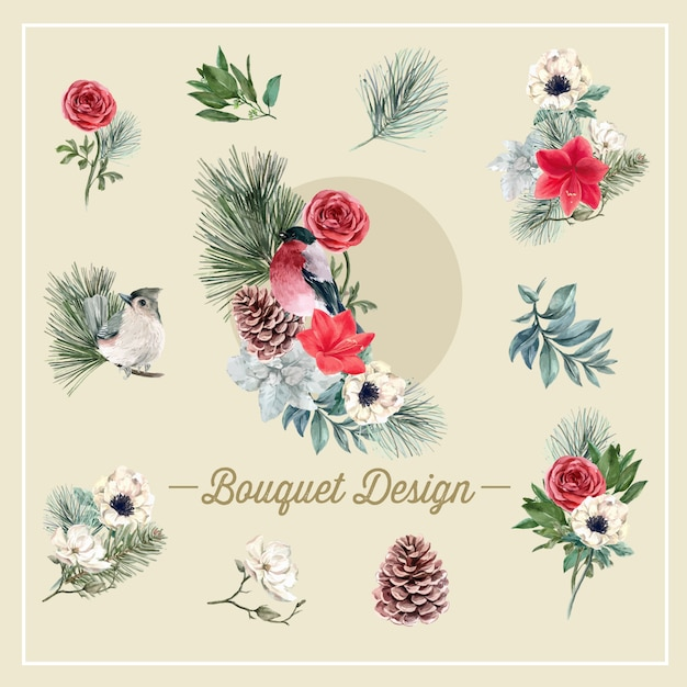 Winter bloom bouquet with bird, foliages, flowers Free Vector