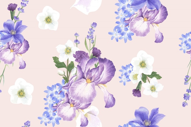 Winter bloom pattern with anemone Free Vector