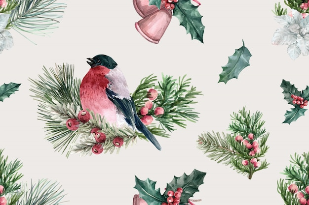 Winter bloom pattern with bird, taxus baccata Free Vector