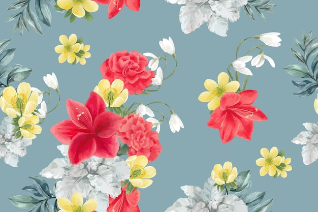 Winter bloom pattern with peony, lilies, galanthus, anemone Free Vector