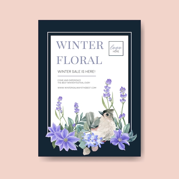 Winter bloom poster with bird, flower Free Vector
