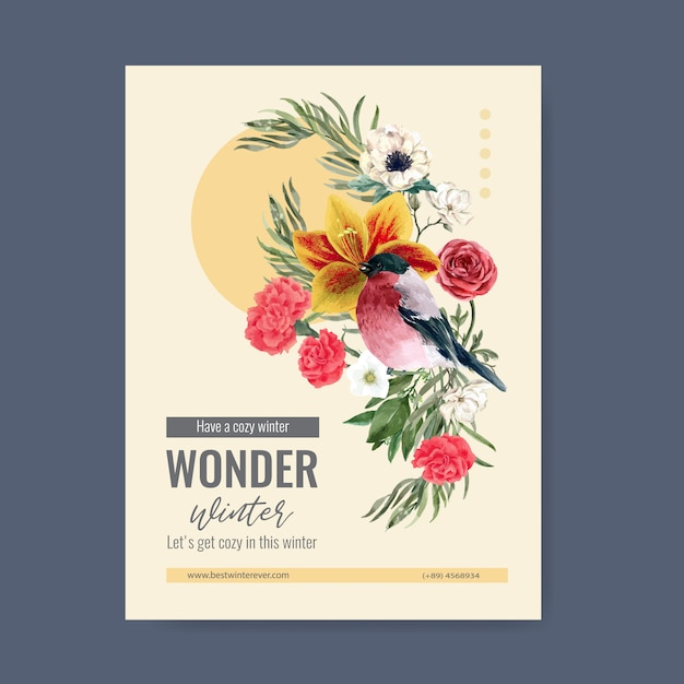 Winter bloom poster with bird, flower Free Vector
