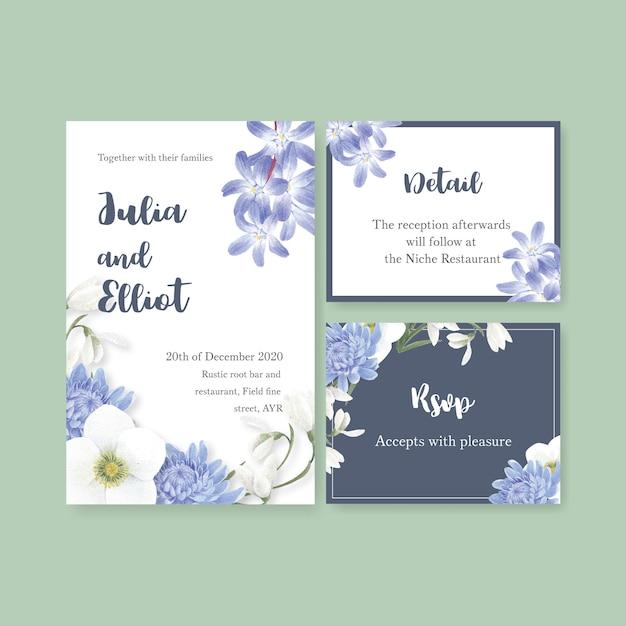 Winter bloom wedding card with coronarius, chrysanthemum Free Vector