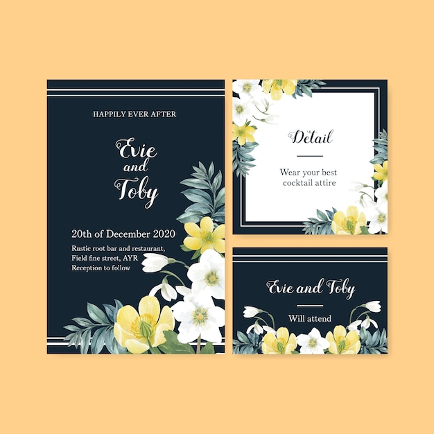 Winter bloom wedding card with floral and foliages Free Vector