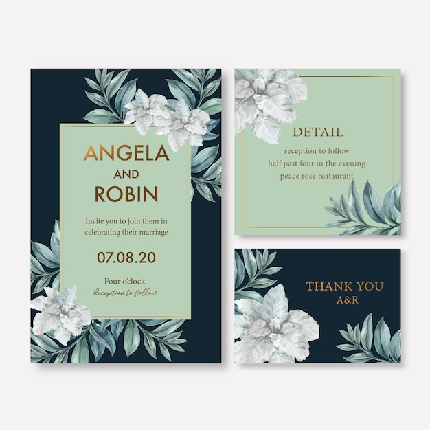 Winter bloom wedding card with foliages Free Vector