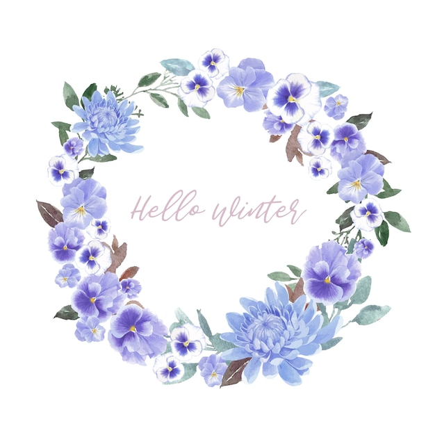 Winter bloom wreath with chrysanthemum, orchid Free Vector