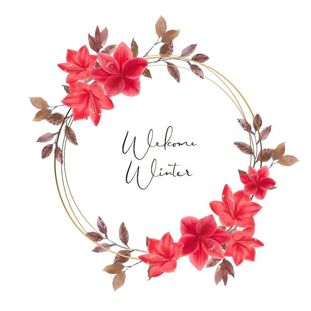 Winter bloom wreath with orange lilies Free Vector
