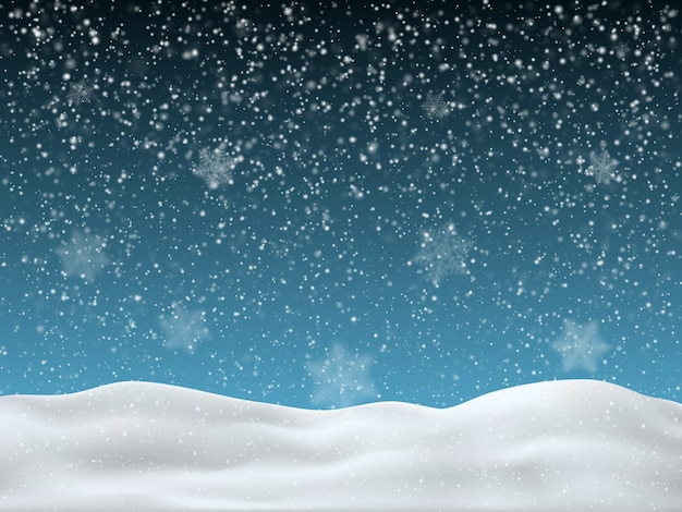 Winter blue sky with falling snow Premium Vector