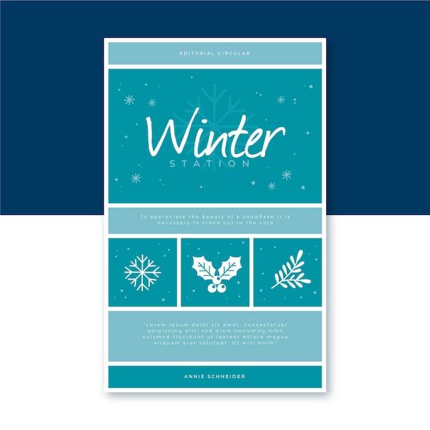 Modello di copertina del libro invernale con fiocchi di neve Vettore gratuito