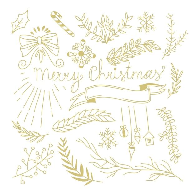 モノクロスタイルの図で木の枝の弓キャンディーおもちゃリボンと冬の植物のお祭りの手描きの概念 無料ベクター